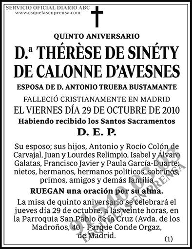 Thérèse de Sinéty de Calonne D´Avesnes